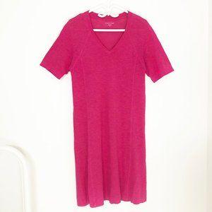 Eileen Fisher Pink Linen V-Neck Midi T-shirt Dress